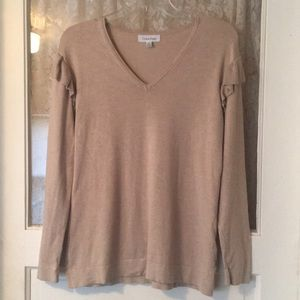 Calvin Klein Ruffle Sweater V Neck
